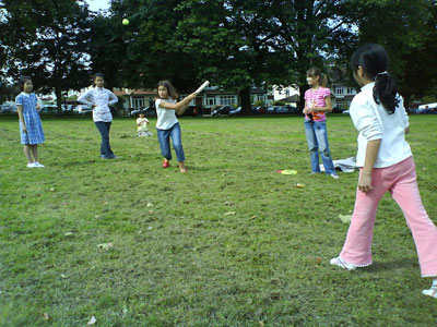 Playing rounders in the summer